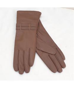 Dámske hnedé kožené rukavice