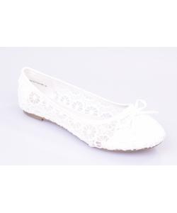 Dámske balerínky biele WISHOT
